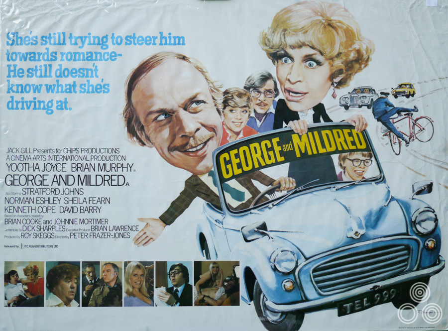 The UK quad for the George and Mildred film, designed and illustrated by Tom Beauvais, 1980