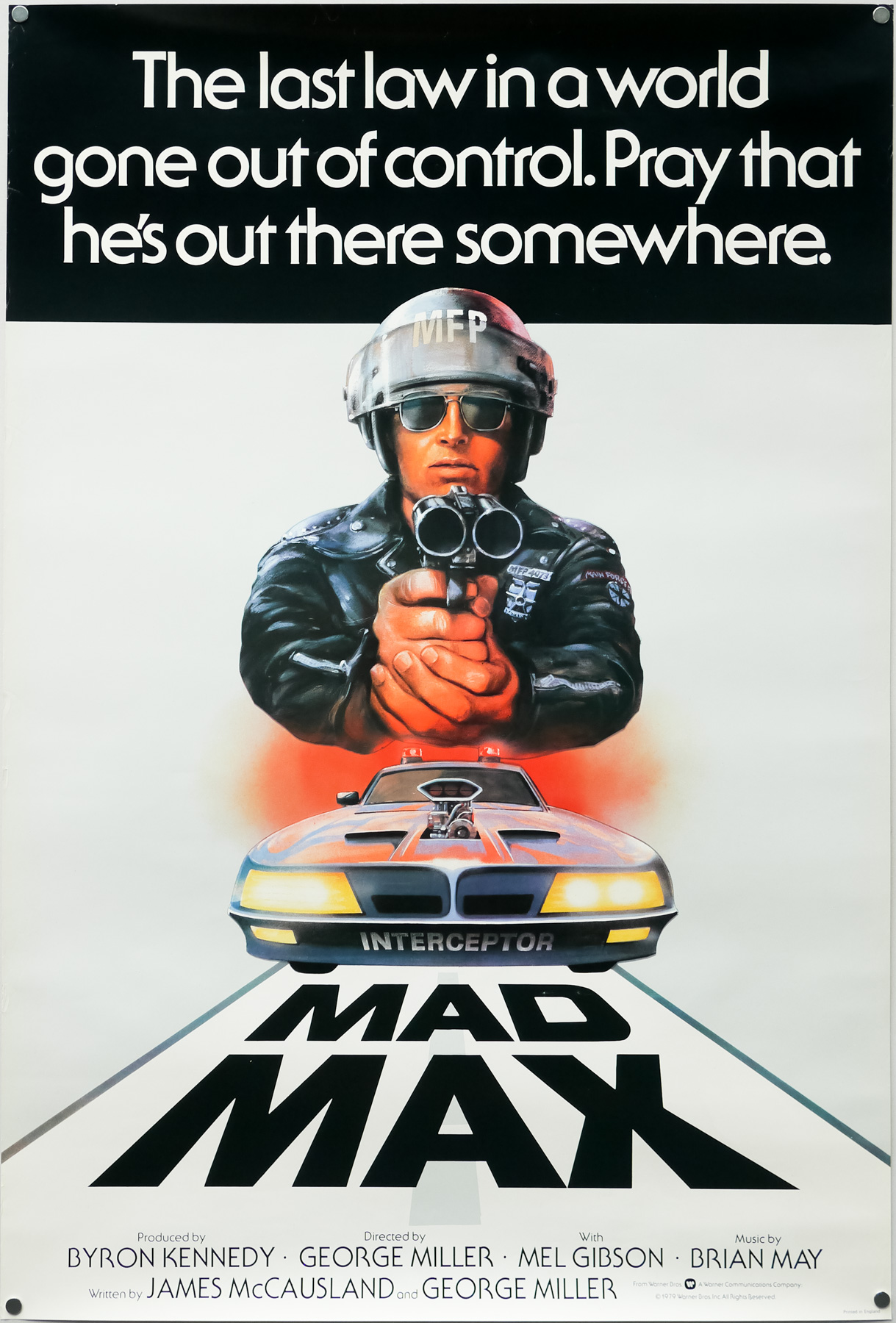 The UK one sheet for Mad Max, designed and illustrated by Tom Beauvais, 1979