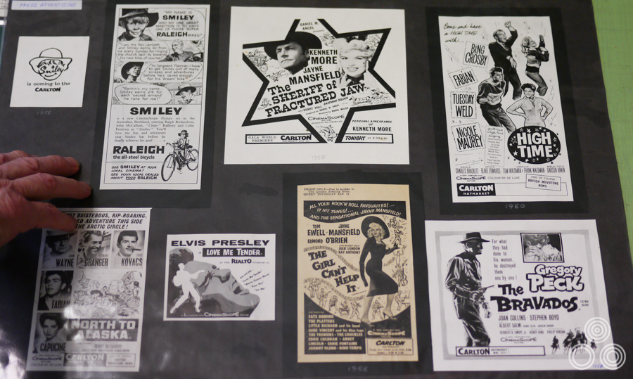 A selection of film-related newspaper adverts designed by Tom Beauvais and printed during the 1950s. That's Tom's hand to the left of the picture!