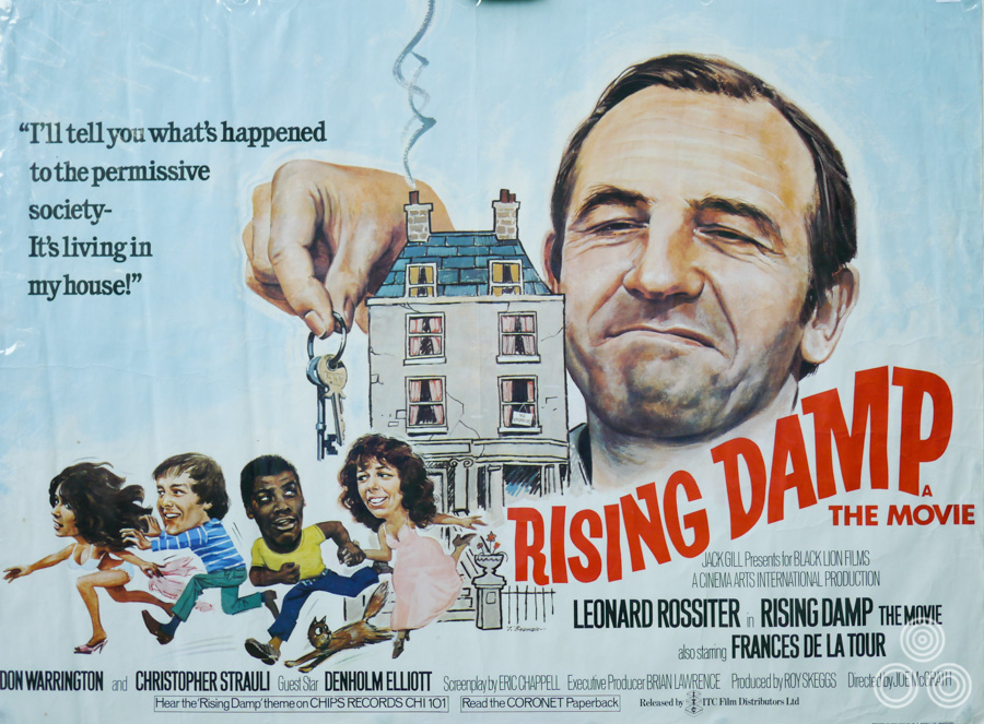 The UK quad for the Rising Damp film, designed and illustrated by Tom Beauvais, 1980.