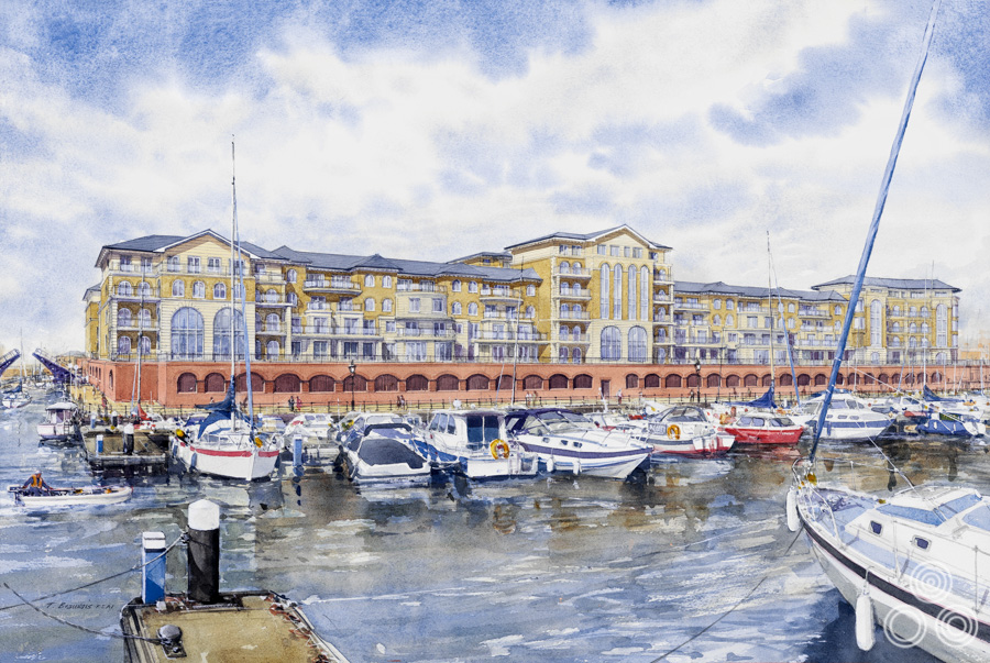 An illustration of Sovereign Harbour, Eastbourne, by Tom Beauvais, commissioned by the architects responsible, 2005.