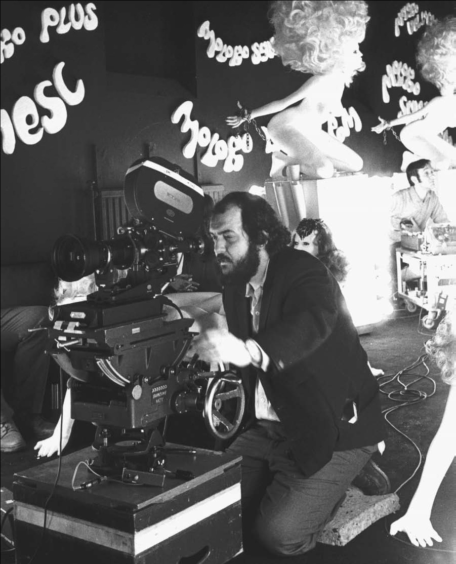 Director Stanley Kubrick on the set of his film A Clockwork Orange, circa 1970.
