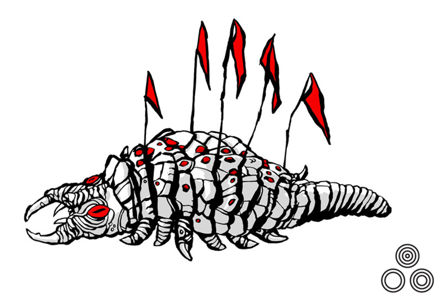 An illustration of the infamous Ceti Eel that featured in the film and was drawn by Tyler Stout and used to promote the gallery show.