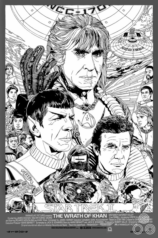 An earlier version of the print featuring Khan holding up a gloved hand and several alternative character portraits.