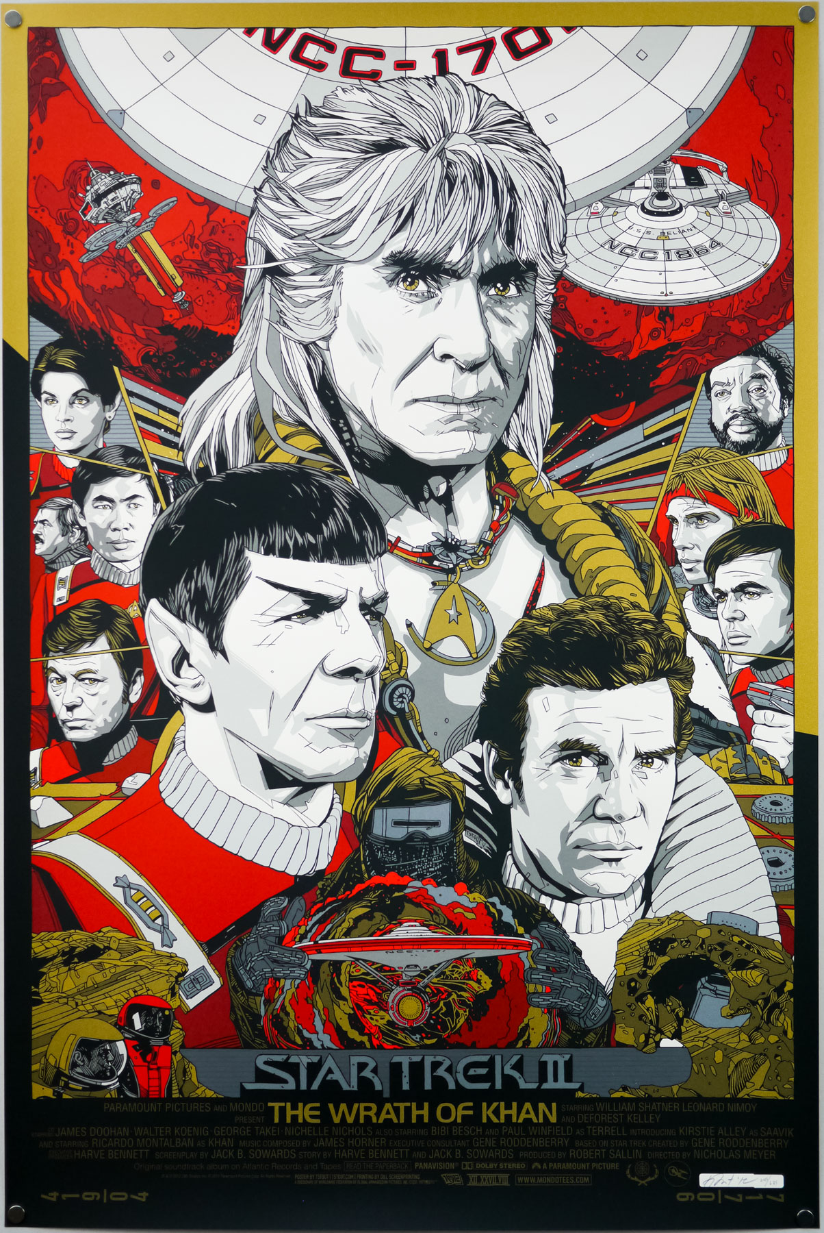 Tyler Stout's screen print for Star Trek II The Wrath of Khan (1982). This is the regular version.