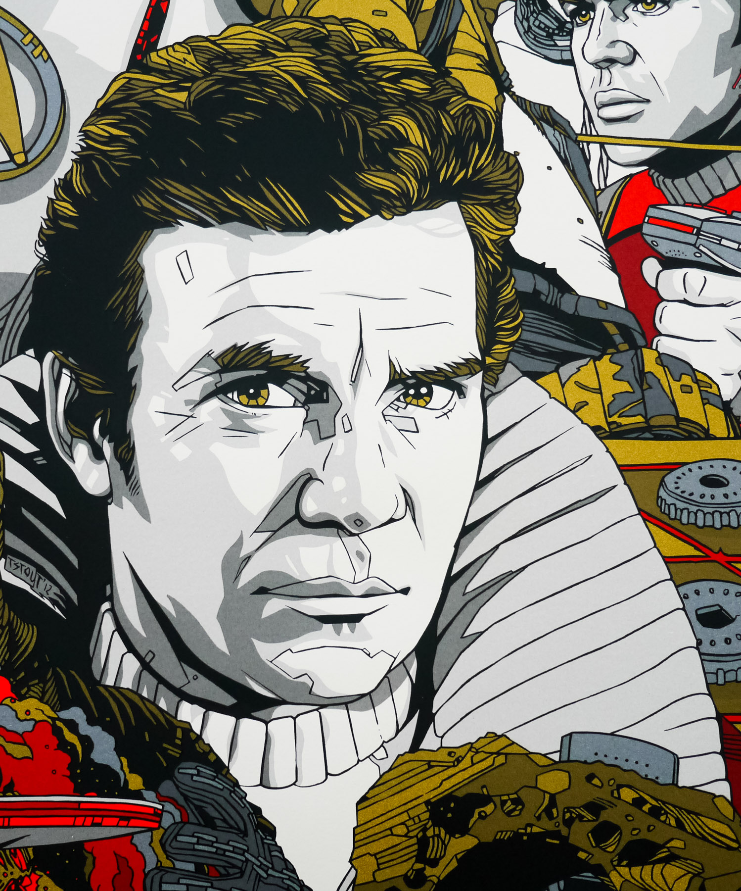 William Shatner's Captain James T Kirk depicted in his 'popped collar' outfit as seen in The Wrath of Khan, by Tyler Stout.