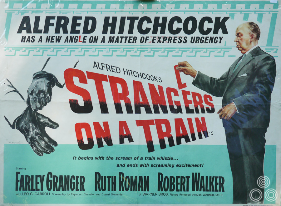 Alfred Hitchcock's Strangers on a Train, re-release quad by Tom Beauvais, 1951