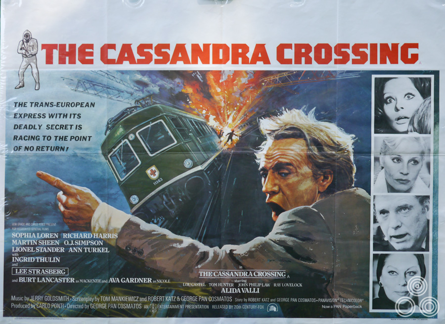 The UK quad for The Cassandra Crossing, designed and illustrated by Tom Beauvais, 1976.