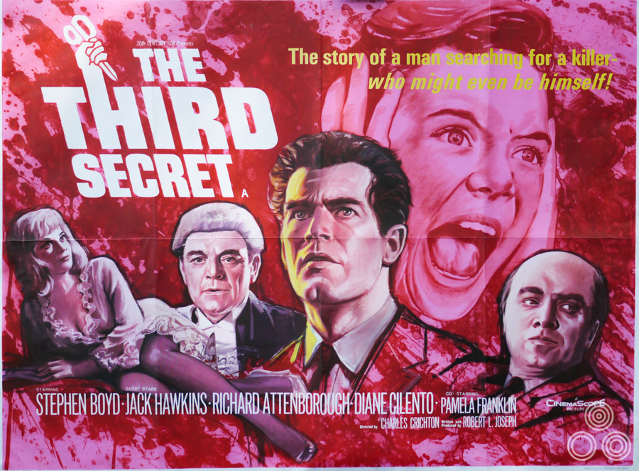 The UK quad for The Third Secret, designed and illustrated by Tom Beauvais, 1964
