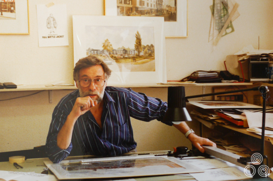 Tom Beauvais in the Chapman Beauvais office, 1987
