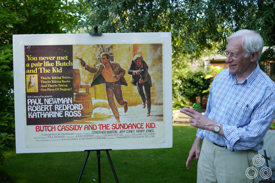 Tom Beauvais stands with the quad for Butch Cassidy and the Sundance Kid, which he designed and illustrated, 2012
