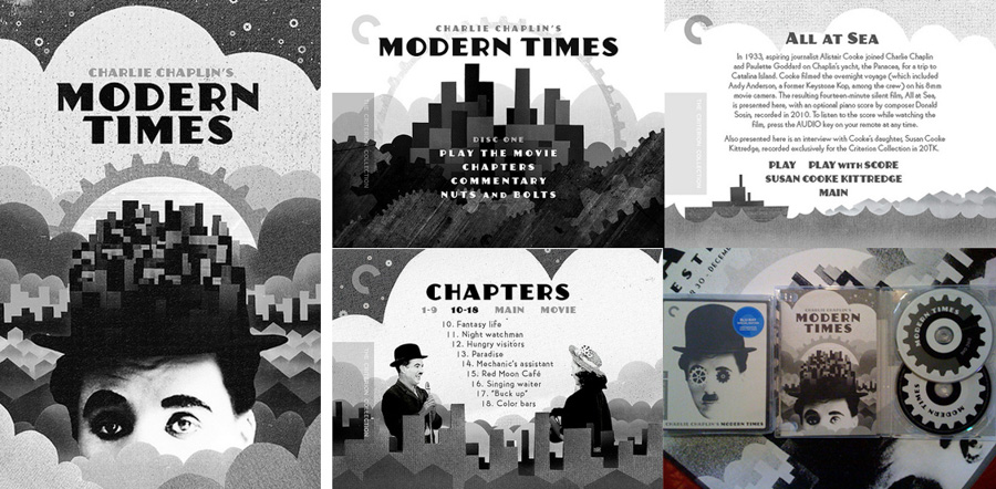 Booklet, menu and packaging designs for the Criterion release of Charlie Chaplin's Modern Times, by Sam's Myth