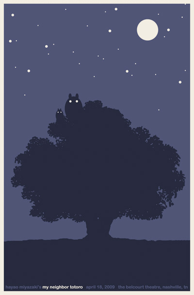 My Neighbor Totoro screen print by Sam's Myth for the Belcourt Theatre, Nashville. 2009