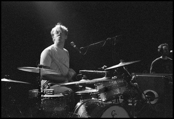 Sam playing drums for the Ben Folds band, 2011
