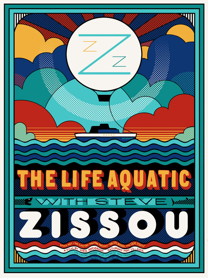 The Life Aquatic screen print by Sam's Myth designed for Spoke Art and the Castro Theatre in San Francisco, 2012