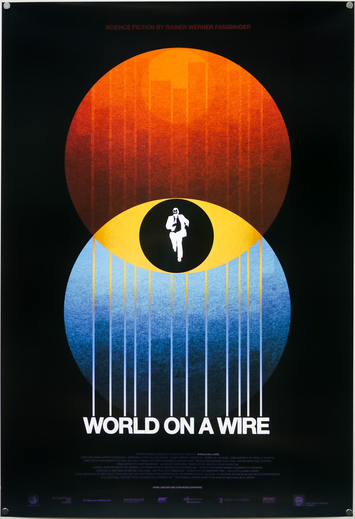 The World on a Wire poster for Janus Films' re-release of the film in 2011, by Sam's Myth