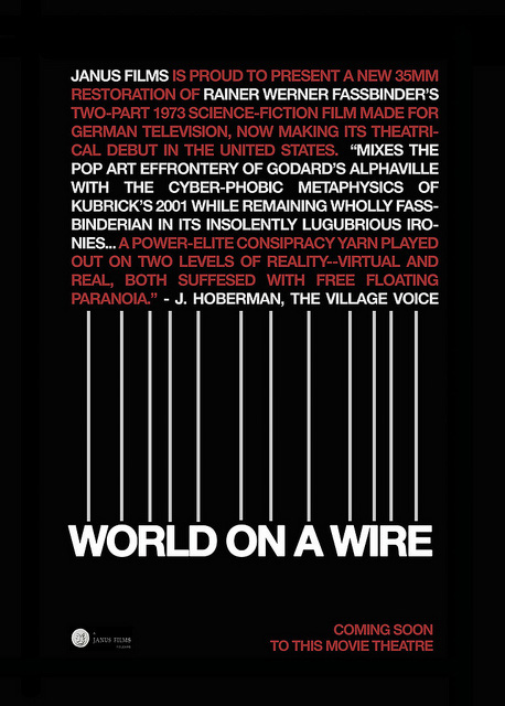 A concept poster for the 2011 re-release of World on a Wire, by Sam's Myth