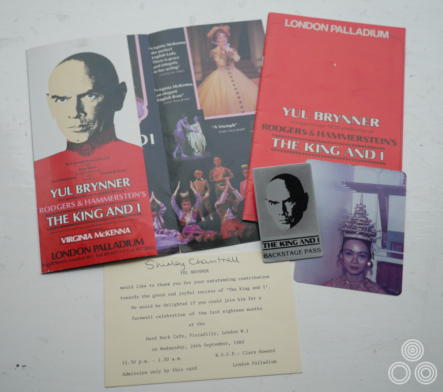 Ephemera from the theatre production of The King and I, starring Yul Brynner and featuring Shirley Chantrell, as pictured in costume in the bottom right.