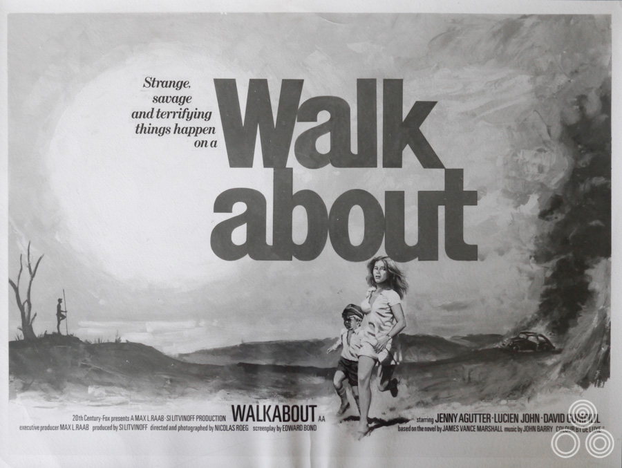 A black and white image of the Walkabout quad, painted by Tom Chantrell and using the reference shot above to get the poses of the running figures right.