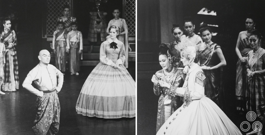 Two images from the stage production of The King and I starring Yul Brynner, which featured Shirley Chantrell.