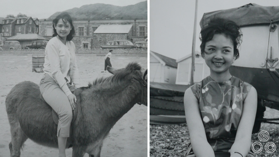Two photos of Shirley on holiday in Wales, around 1964, both taken by Tom Chantrell