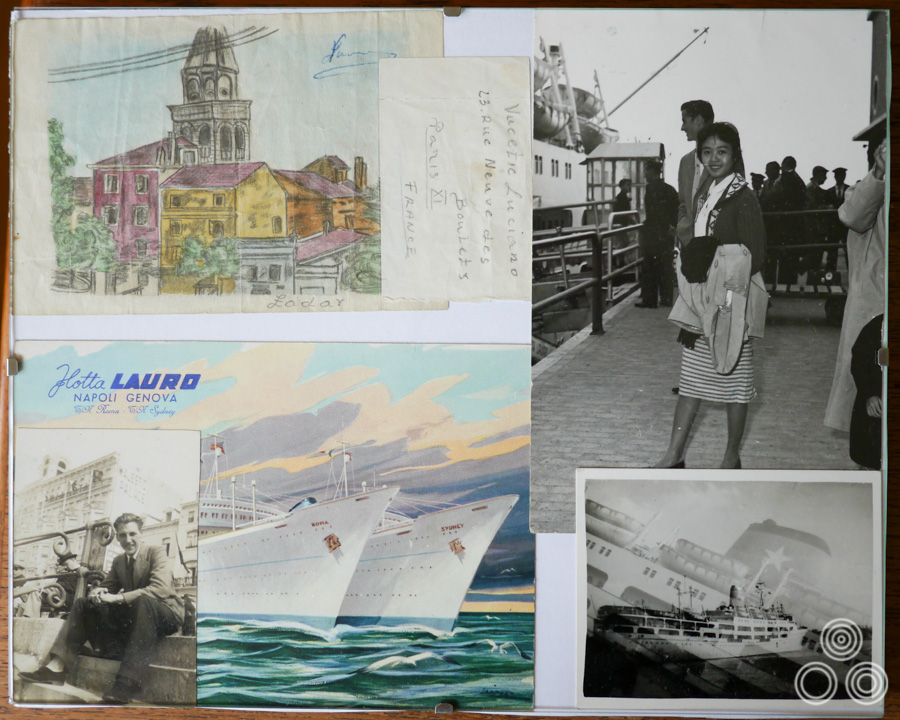 A framed montage of items related to Shirley Chantrell's fateful voyage from Singapore to Europe, including a picture of Shirley on the deck and a sketch that one of her fellow passengers gave to her.