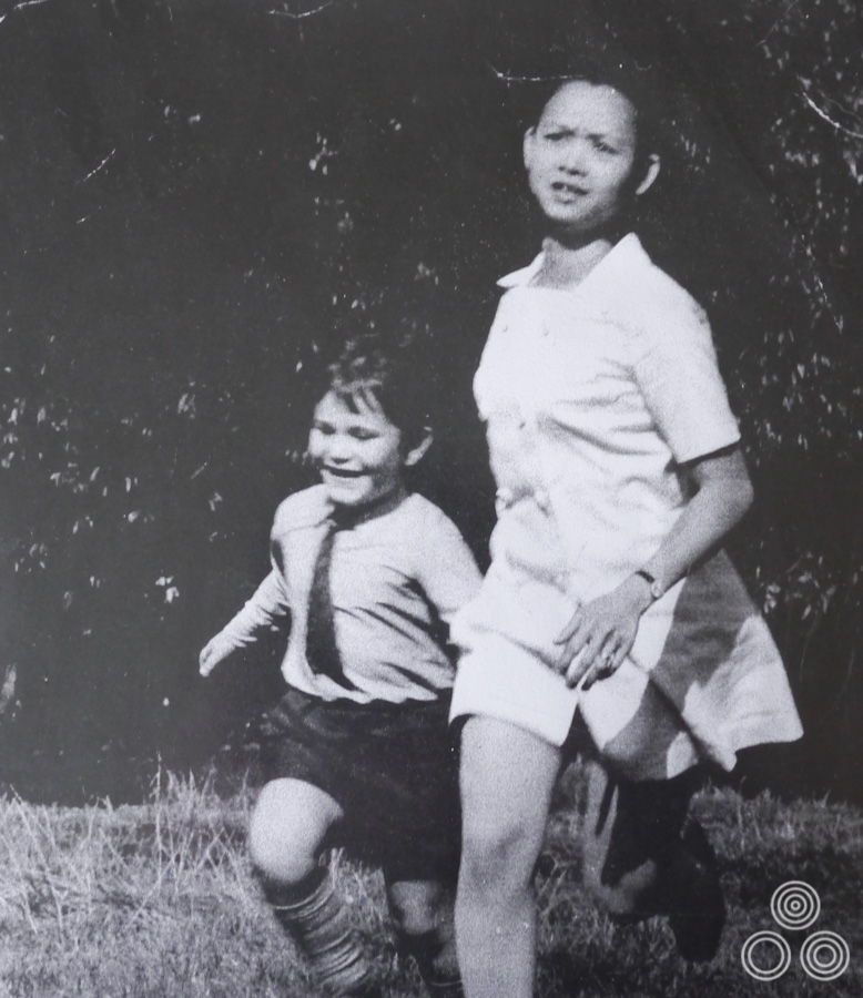 Shirley Chantrell and the son of one of her neighbours running in a reference shot used by Tom Chantrell to paint the British quad for Nicolas Roeg's film Walkabout, circa 1971.