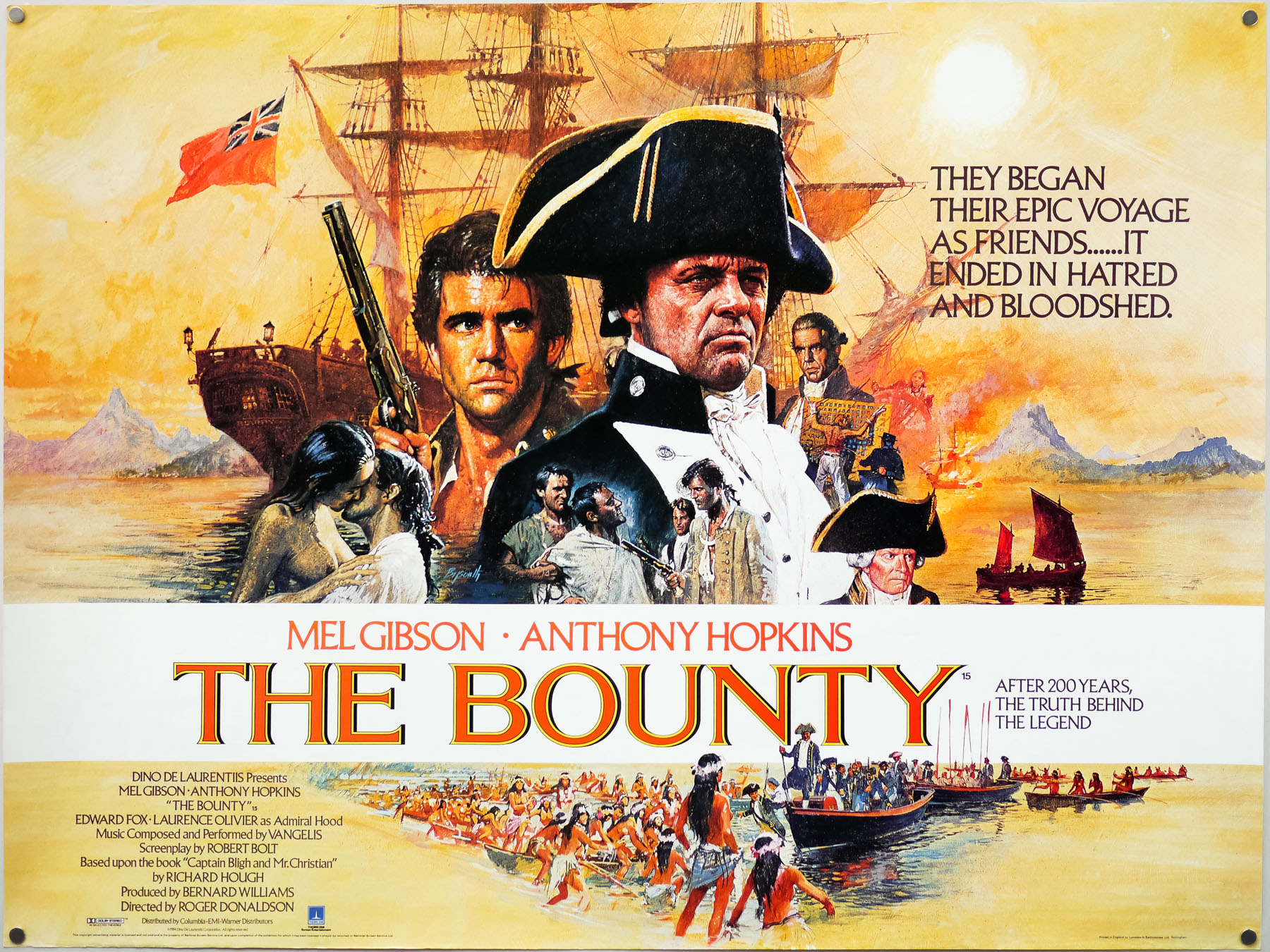 The UK quad for The Bounty, painted by Brian Bysouth, 1984