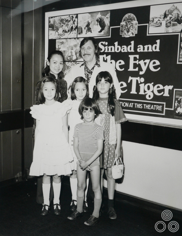 An image of the Chantrell family, plus two young friends on a trip to the premier of Sinbad and the Eye of the Tiger in 1978.