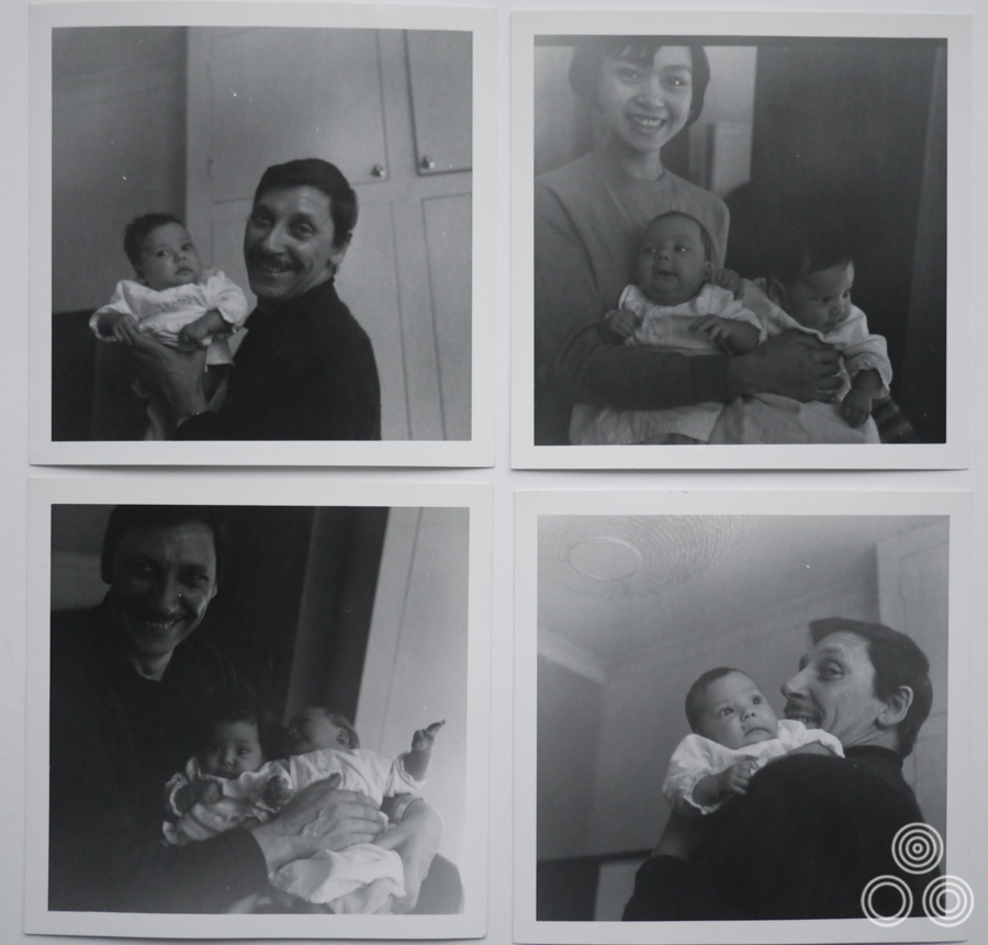 A montage of images showing Tom and Shirley with their newborn twins, Jaqui and Louise in 1968.