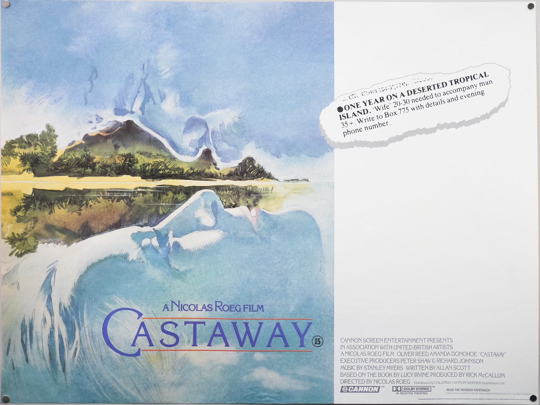 The British quad for Castaway (1986) designed by Vic Fair. His original concept illustration ended up being used after attempts to paint it again, and capture the quality of the original, failed.