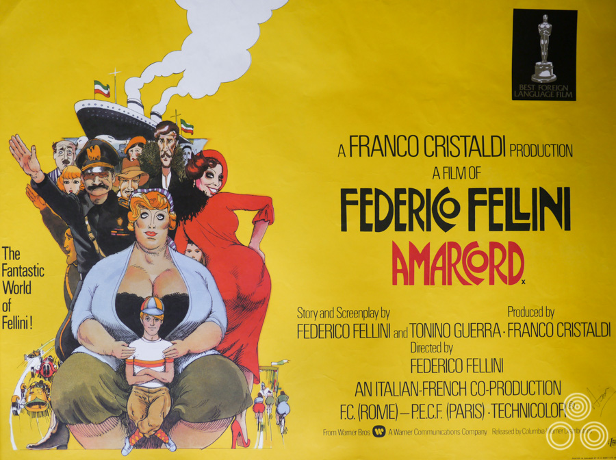 The final printed quad for Federico Fellini's Amarcord, designed and illustrated by Vic Fair, 1973