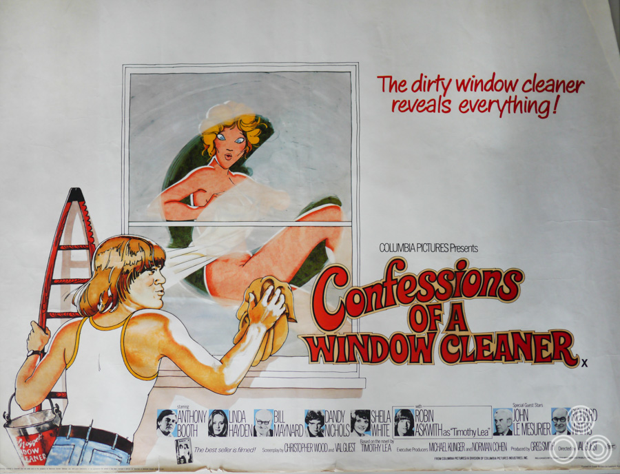The British quad for Confessions of a Window Cleaner with design and artwork by Vic Fair, 1974