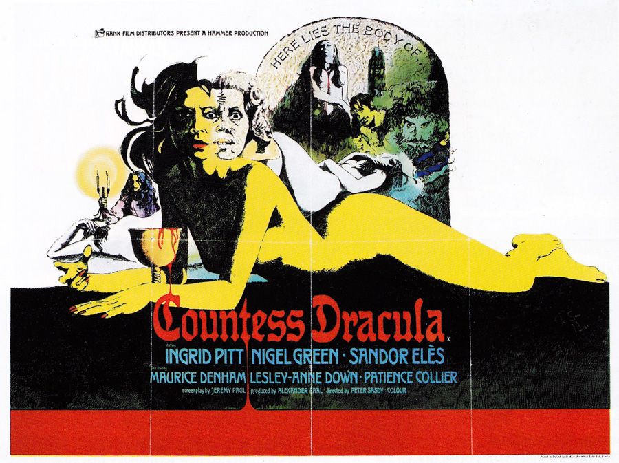 The original British quad for Countess Dracula, designed and illustrated by Vic Fair, 1971.