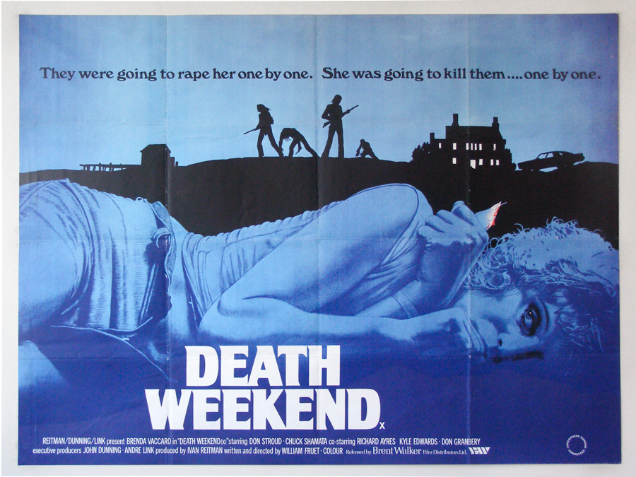 The final printed quad for Death Weekend, by Vic Fair 1976. Note the striking use of colour, including the single dash of red on the weapon in the woman's hand.