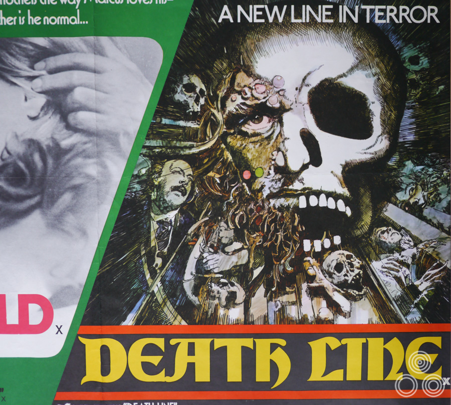 This is how the Deathline artwork appeared on the final printed quad (as part of a double-bill). The train was replaced by a skull in order to appease the people at London Underground. Design and illustration by Vic Fair, 1973