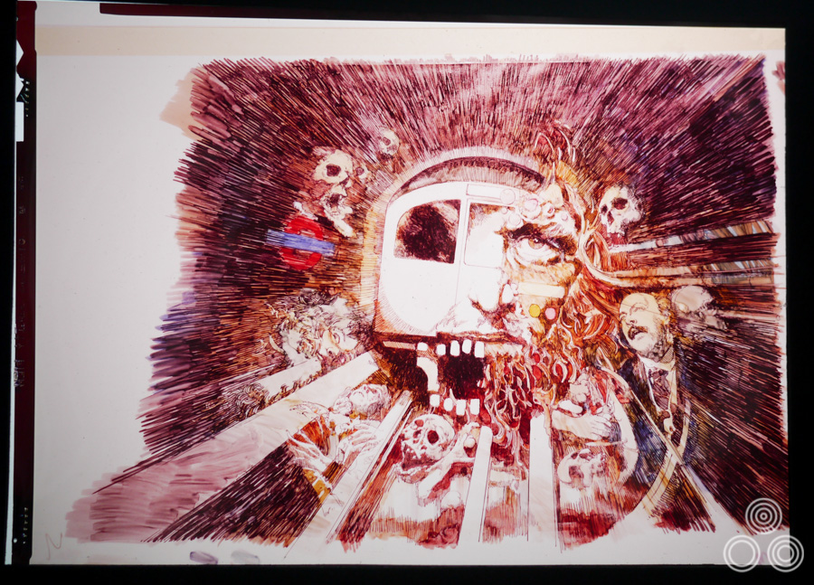 The original concept artwork for Deathline (AKA Raw Meat) by Vic Fair, 1973. This is a transparency of the rough that was ultimately altered on the insistence of London Underground after they objected to the depiction of one of their trains surrounded by gruesome imagery.