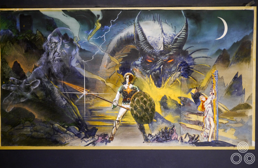 An alternative rough for Dragonslayer, which has more elements in common with the final quad. By Vic Fair, 1981.