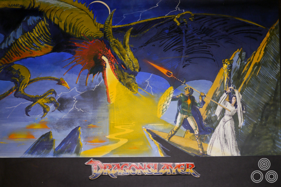 A concept rough (sketch) for Dragonslayer by Vic Fair, 1981. The final printed quad was painted by Brian Bysouth.