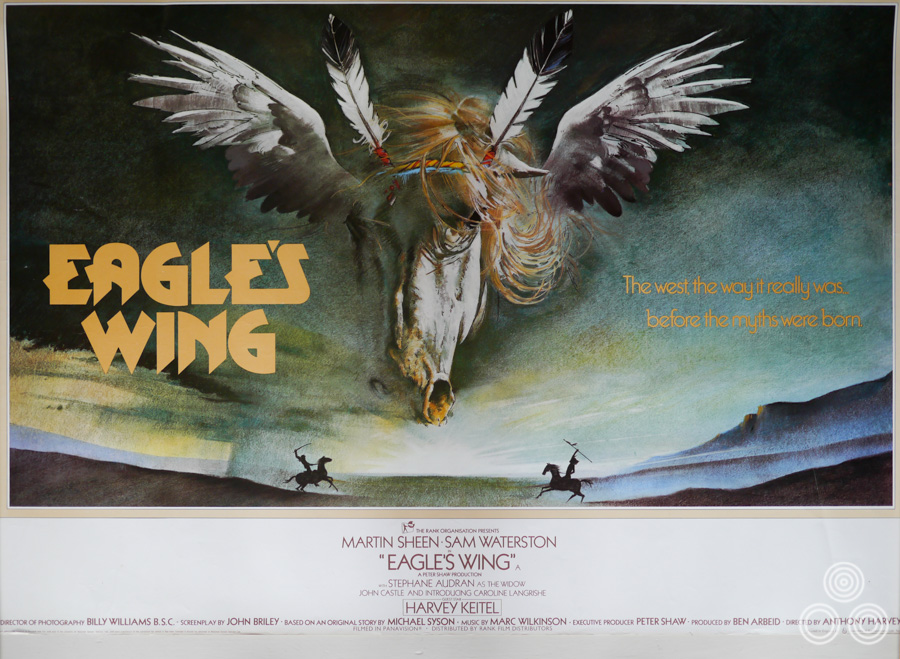 The final printed British quad for Eagle's Wing, designed and illustrated by Vic Fair, 1979.