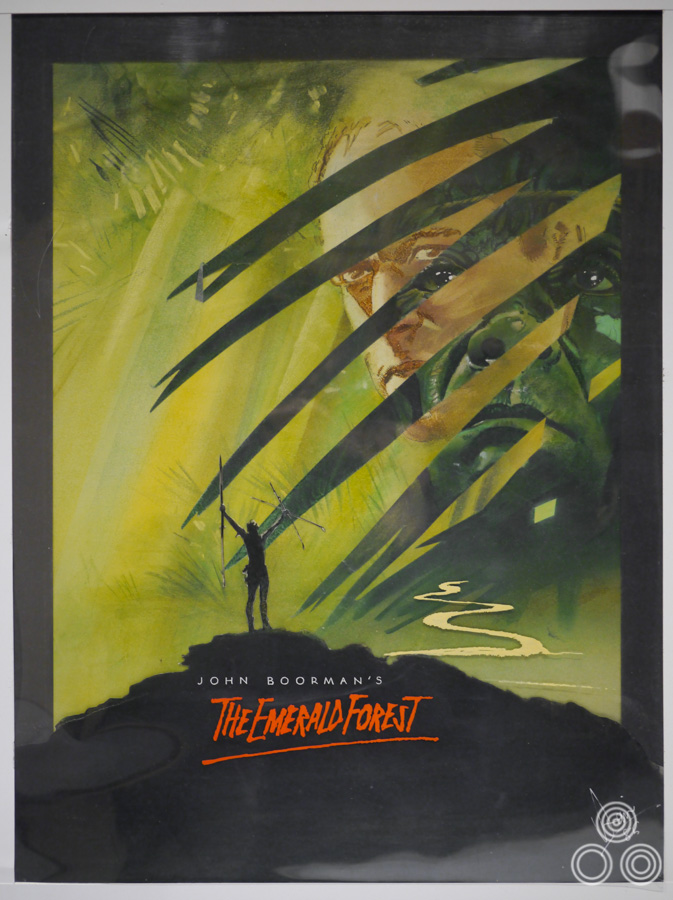 A concept painting for the Emerald Forest British poster by Vic Fair, 1985. The final printed poster was painted by Brian Bysouth.