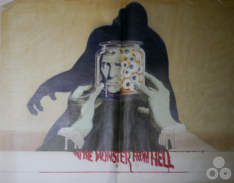 An unused rough (sketch) for Hammer films' Frankenstein and the Monster From Hell by Vic Fair, 1973. The final British poster was painted by Bill Wiggins.