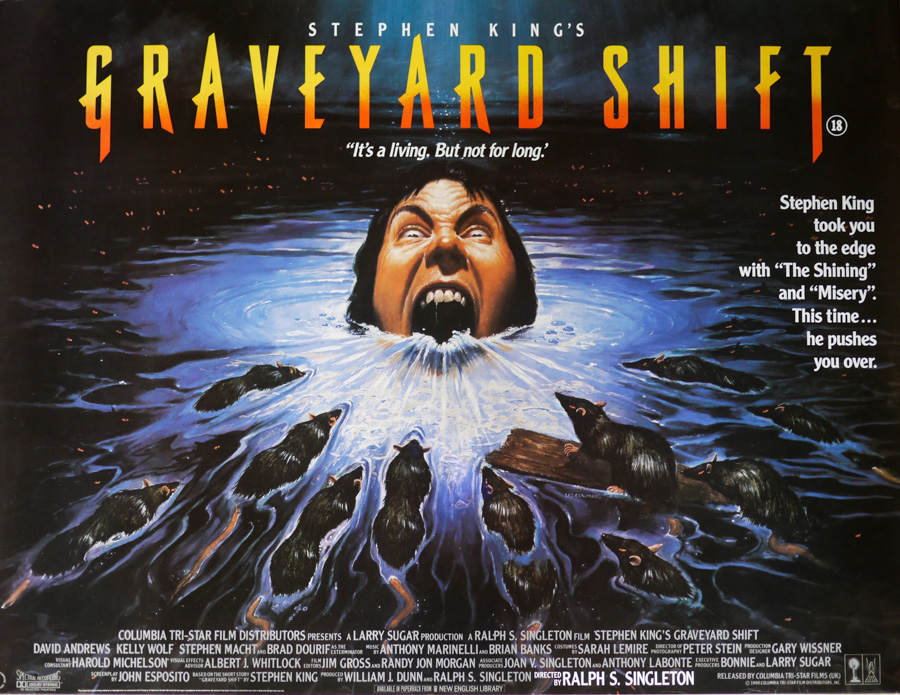 The final printed quad for Graveyard Shift designed by Vic Fair and illustrated by Les Edwards, 1990. The head in the water is actually modelled on that of their fellow designer Marcus Silversides