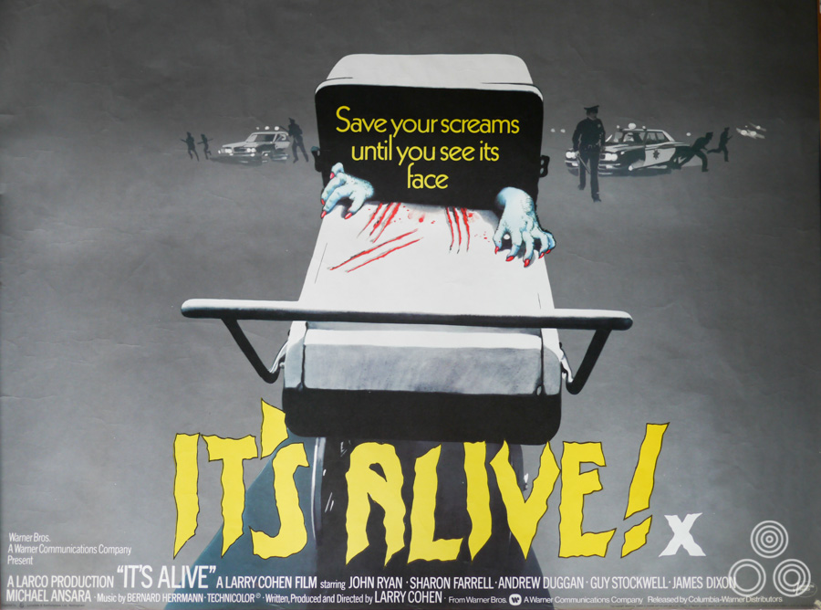 The final printed British quad for It's Alive, designed and illustrated by Vic Fair, 1974.