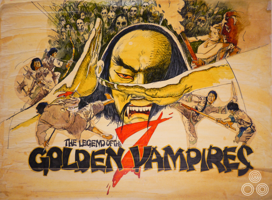 A concept rough (sketch) for the British poster for Hammer's The Legend of the Seven Golden Vampires by Vic Fair, 1974. The final quad was illustrated by the Italian artist Arnaldo Putzu.