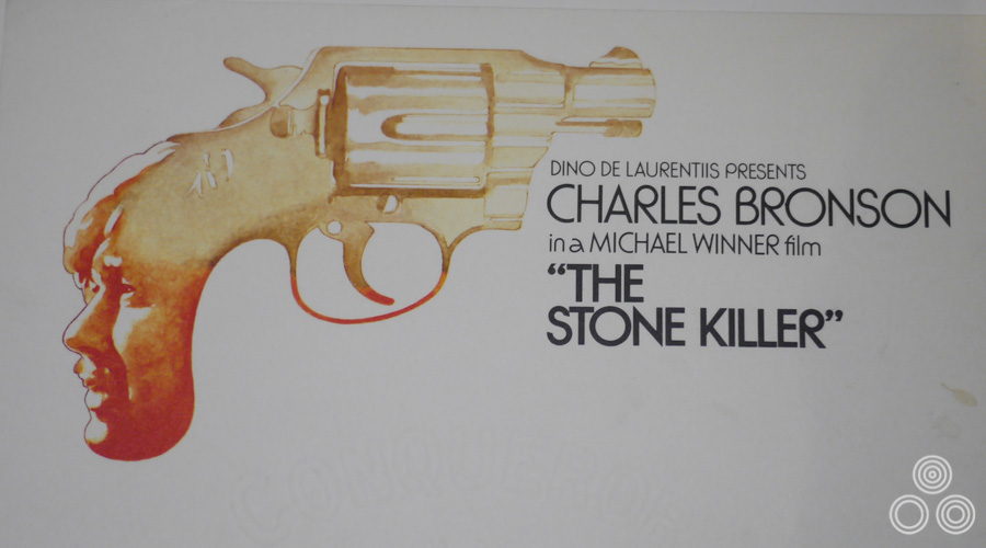 A painted letterhead for the promotion of the release of The Stone Killer, starring Charles Bronson. Design and illustration by Vic Fair, 1973.