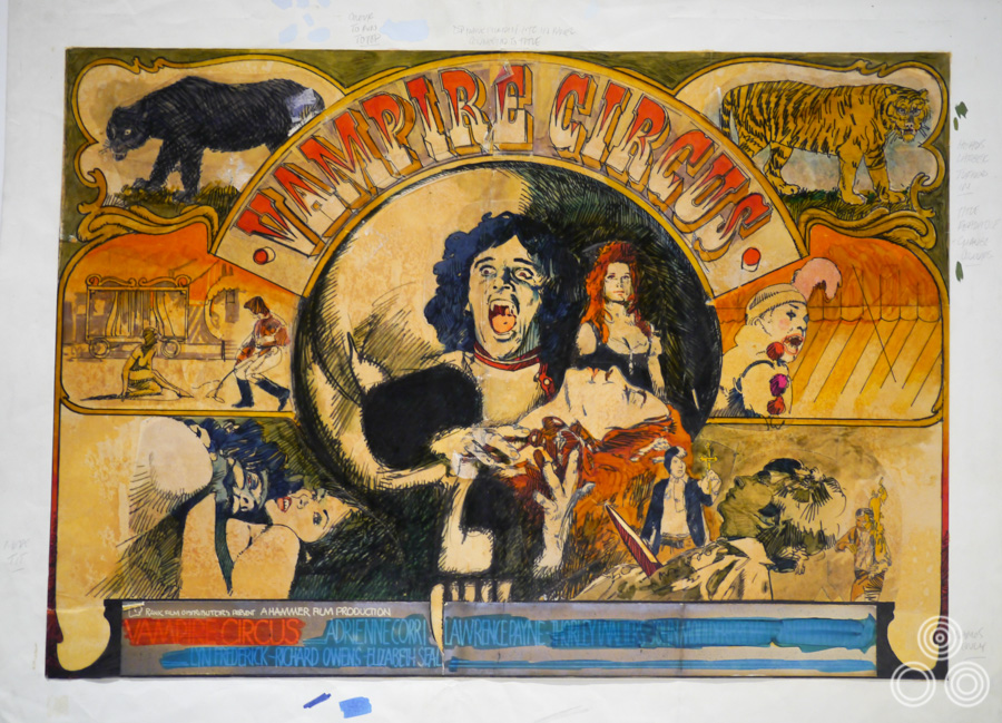The original concept rough (sketch) for Hammer films' Vampire Circus by Vic Fair, 1972