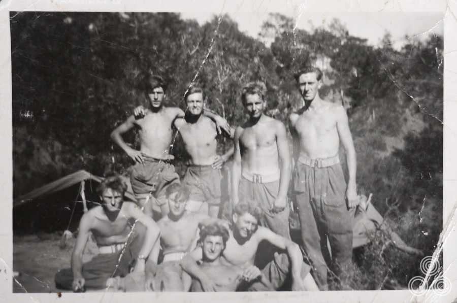 Vic Fair (second left, top row) with fellow National Service enlistees on an Army base in Cyprus, circa 1955.