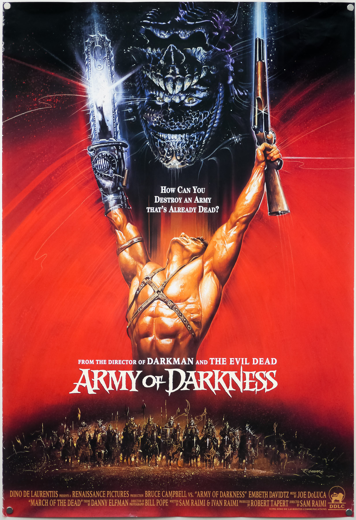 The international one sheet for Sam Raimi's Army of Darkness, designed and painted by Renato Casaro (1992)