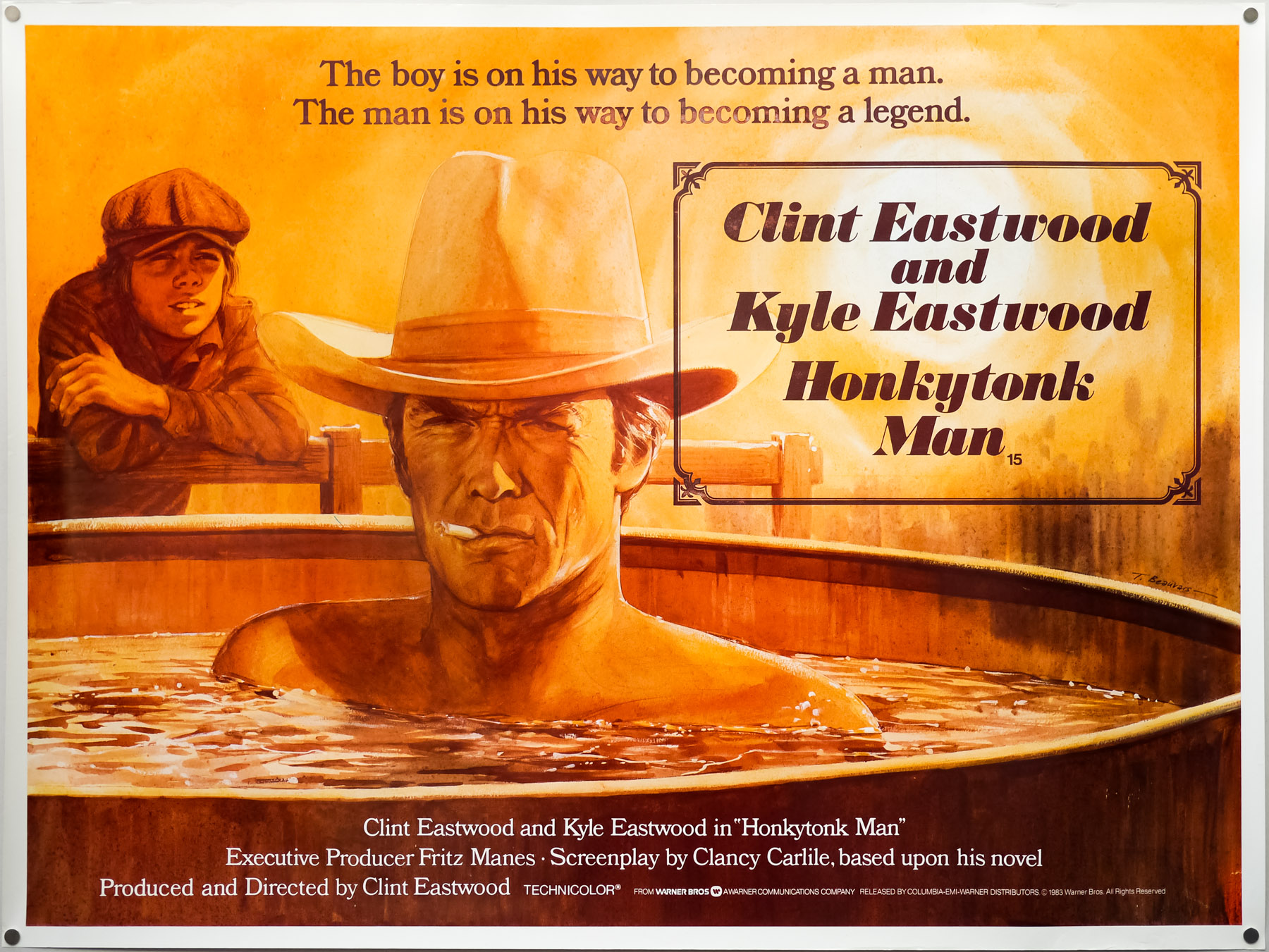 The UK quad for Clint Eastwood's Honkytonk Man, designed and illustrated by Tom Beauvais in 1982. Tom's son Keith was used as a reference double to capture the pose of Eastwood's own son Kyle.